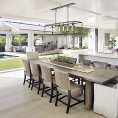 Take a look at these ten dreamy indoor/outdoor living spaces. So pretty for flooding your house with light, increasing living space, and entertaining. Contemporary Kitchen Renovation, Contemporary Rugs, Indoor Outdoor Living, Outdoor Dining, Outdoor Living Spaces, Outdoor Areas, Open Plan Kitchen, Kitchen Ideas, Open Plan Living