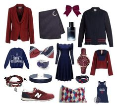 """Colour Combo Love: Maroon and Navy"" by beavercity on Polyvore featuring ...à_la_fois..., Jil Sander Navy, Muveil, New Balance, Chassè, Bling Jewelry, FOSSIL, Miss Selfridge, Tory Burch and Ippolita"