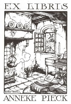 EX libris Anneke Pieck I adore this one! The boiling kettle. Ex Libris, Anton Pieck, Dutch Painters, Personalized Books, Dutch Artists, Pencil Illustration, Printmaking, Book Art, Bookbinding