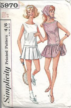 Tennis dress pattern, in two designs. Size 16, Bust 36. This is a used pattern which has been cut. The pieces have been checked and are in good condition. Envelope has some wear to it.
