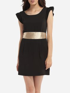 Bowknot Round Neck Dacron Color Block Bodycon-dress