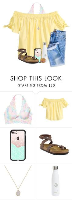 """Missouri today(:"" by arieannahicks on Polyvore featuring Victoria's Secret, Casetify, Birkenstock, Kendra Scott and S'well"
