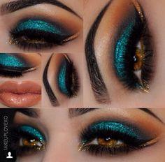 Peacock Inspired Dramatic Eye Makeup Ideas Pfau inspiriert dramatische Augen Make-up-Ideen Gorgeous Makeup, Pretty Makeup, Love Makeup, Makeup Inspo, Makeup Inspiration, Makeup Tips, Beauty Makeup, Makeup Looks, Makeup Ideas