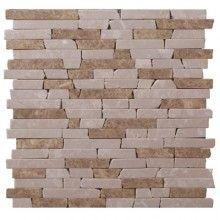 peel and stick backsplash | Peel and stick stone mosaic Burdur Beige Light  Emperador marble random