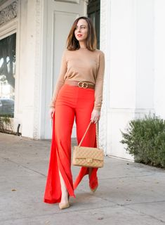 Sydne Style shows how to wear camel and red in lovers and friend pants