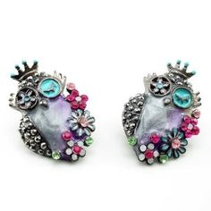 DaisyJewel Owl Earrings: Glossy Gunmetal & Lilac Springtime Steampunk Flower Bouquets of Owls - Skin-Safe - Betsey Johnson Style Inspired - Pearlized Cool Spring & Summer Colors Compliment Each Other in Swirly Enamel and Crystal Encrusted Flowers - http://www.wonderfulworldofjewelry.com/jewelry/religious-jewelry/religious-earrings/daisyjewel-owl-earrings-glossy-gunmetal-lilac-springtime-steampunk-flower-bouquets-of-owls-skinsafe-betsey-johnson-style-inspired-pearlized-cool-sp