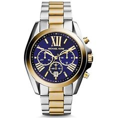Shop for Michael Kors Women's Bradshaw Chronograph Blue Dial Two-Tone Stainless Steel Bracelet Watch. Michael Kors Blue Watch, Michael Kors Bradshaw Watch, Michael Kors Gold, Bijoux Michael Kors, Michael Kors Schmuck, Handbags Michael Kors, Michael Kors Chronograph, Michael Kors Designer, Stainless Steel Jewelry