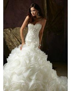 Best Selling Mermaid Sweetheart Delicate Beaded Organza Ruffles Floor Length Chapel Train Wedding Dresses 2013 By AndyBridal Wedding Dresses