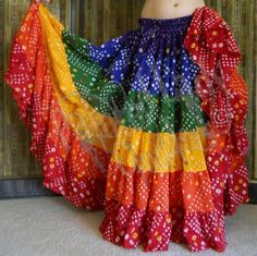 Rainbow Bandhini Skirt by Painted Lady Clothiers Indian Fashion Dresses, Dress Indian Style, Indian Designer Outfits, Indian Outfits, Fashion Outfits, Garba Dress, Navratri Dress, Lehnga Dress, Choli Designs