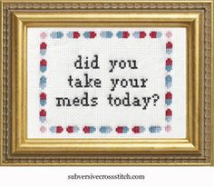 Subversive Kits | Subversive Cross Stitch | Did You Take Your Meds Today?