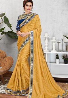yellow jacquard silk embroidered sangeet saree 11407 Churidar, Anarkali, Salwar Kameez, Lehenga, Indian Designer Sarees, Designer Sarees Online, Fancy Sarees, Party Wear Sarees, New Saree Designs