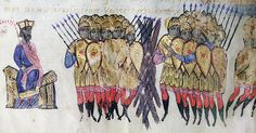 Illustration from  Scylitzes Chronicle  f217v  The final defeat of the Bulgars by Michael IV the Paphlagonian.  The final defeat of the Bulgars by Michael IV the Paphlagonian who is seated on his throne. The Bulgars put up a wooden palisade near Prilep which is seen here between the two groups of soldiers but the Byzantine forces broke it down.  Scylitzes Chronicle