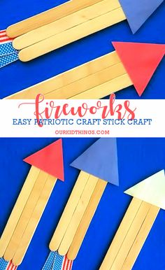 This easy Craft Stick Fireworks Craft is in celebration and the fun of fireworks on the of July simply by using 3 craft sticks and patriotic ribbon. Fireworks Craft For Kids, Fireworks Art, 4th Of July Fireworks, July 4th, 4th July Crafts, Fourth Of July Crafts For Kids, Patriotic Crafts, Patriotic Party, Daycare Crafts