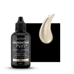 Podkład Gosh Foundation Plus+ to kryjący podkład i korektor w jednym, dający satynowe wykończenie, nawilżający i odzywczy. Bez parabenów i perfum.
