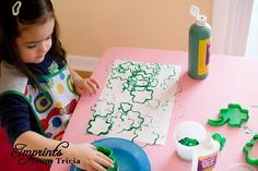 Shamrock Collage with cookie cutters and paint!