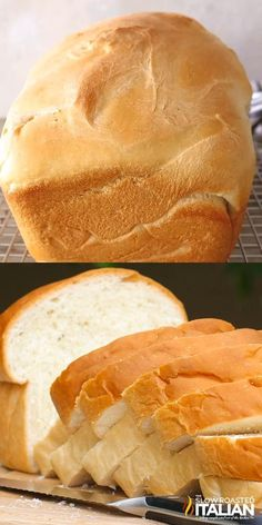 Simple Amish White Bread Recipe is a simple recipe that creates a soft and tender, slightly sweet white bread. It is so easy, it is nearly a no-fail recipe. This is a keeper! Bread Maker Recipes, Easy Bread Recipes, Baking Recipes, Sliced Bread Recipes, Plain Bread Recipe, Bread Machine Brioche Recipe, White Bread Recipes, Sweet Bread Machine Recipes, Finger Food