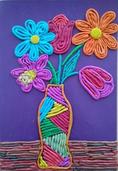 Цветы из пластилина в виде аппликации Clay Art Projects, Clay Crafts, Yarn Crafts, Drawing For Kids, Art For Kids, Crafts For Kids, Arts And Crafts, Painting Activities, Craft Free