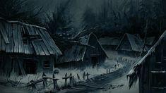 Abandoned village views 01 by Reza-Afshar-Art on DeviantArt Dark Fantasy Art, Fantasy Concept Art, High Fantasy, Medieval Fantasy, Fantasy Artwork, Fantasy World, Fantasy Art Landscapes, Fantasy Landscape, Environment Concept Art