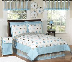 The Mod Dots Blue Polka Dot - Kids Bedding 4 Piece Twin Set by Sweet Jojo Designs will step of the style of your child's bedroom with a fun modern Girls Comforter Sets, Teen Bedding Sets, Cotton Bedding Sets, Baby Bedding, Twin Size Bed Sets, Polka Dot Bedding, Quilt Set, Childrens Beds, Comforters