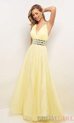 Long V-Neck Open Back Dress at PromGirl.com