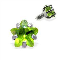 Internally Threaded Star Dermal Top, 14GA, 3MM, green Gold Body Jewellery, Body Jewelry Piercing, Belly Button Rings, Body Art, Piercings, Star, Green, Peircings, Piercing