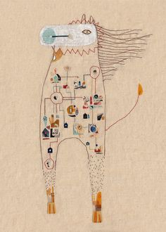 Art print A4 Illustration  Imaginary bestiary  The от 2Hands2Tails