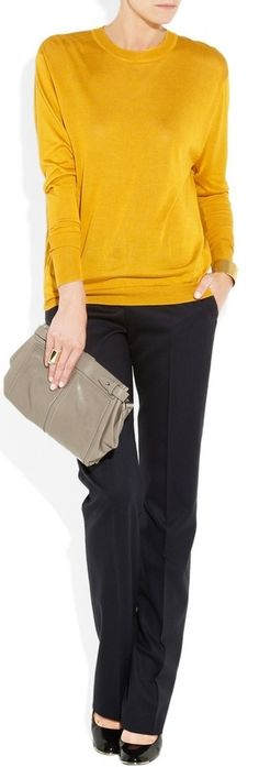 outfit post: mustard sweater, black pants