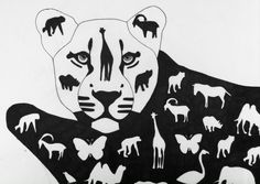 Kate: black and white lion painting