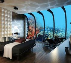 Not exactly the cheapest hotel in Dubai, the Water Discus is nevertheless the most unique. As the world's biggest underwater hotel, it's also the only Dubai hotel that offers views of the ocean floor! Dubai Hotel, Hotel Subaquático, Dubai Uae, Dubai City, Hotel Stay, Hotel Lobby, Underwater Hotel Room, Underwater Theme, Underwater Wedding