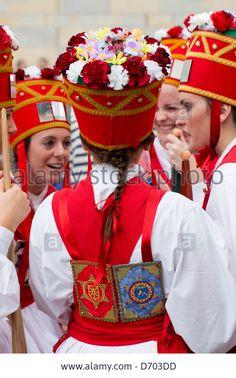 Dancers during San Fermin Fiesta at Pamplona, Navarre, Northern Spain Stock Photo