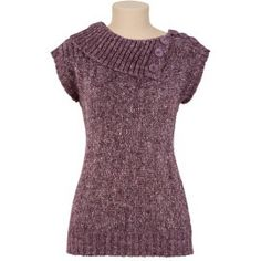 Purple side split cowl neck, cap sleeve sweater!