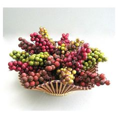 Red Berry Christmas Berry Decor Craft Berry Grape Cluster Floral Pick... ($6.25) via Polyvore featuring home, home decor, fruit wreath, grapes home decor, berry wreath, green wreath and fruit home decor
