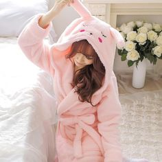 Plush Robe Adult Animal Mouse Pajamas Long Sleeve Lovely Rabbit Sleepwear Pink Bath Robes Dressing Gowns Women Gray Bathrobe - Under Wear Bath Robes For Women, Pink Baths, Pet Mice, Nightgowns For Women, Bridesmaid Robes, Aliexpress, Night Gown, Rose, Dressing