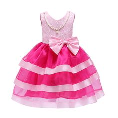 432cb2940 Fashion Girl Layer Striped Dress With Beading Wedding Party Elegant Gown  Princess Dresses Sleeveless Year Kids Prom Vestido