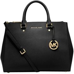 Pre-owned Michael Kors Sutton Large Dressy Leather Black Satchel (535 CAD) ❤ liked on Polyvore featuring bags, handbags, black, black satchel handbag, black leather purse, satchel purse, leather satchel purse and genuine leather purse