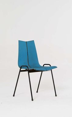 Hans Bellmann; Enameled Metal and Upholstered Molded Plywood, Stacking Chair for Tubax, 1950s.