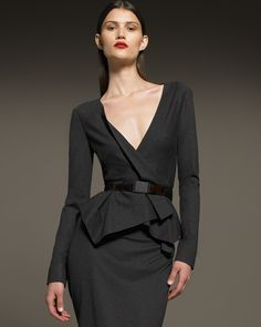 Donna Karan Belted Cascade Jacket & Drape Back Pencil Skirt | bestaybeautiful