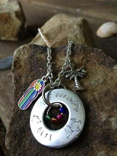 Beach Girl Metal Stamped Washer Pendant Necklace on Etsy, $25.00