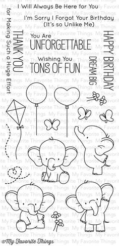 MFT STAMPS: Adorable Elephants x Clear Photopolymer Stamp Set) This package includes Adorable Elephants, a 21 piece set including: Elephants measuring 1 x 1 1 x 1 Karten Diy, Mft Stamps, Clear Stamps, Doodle Art, Embroidery Patterns, Hand Embroidery, Hand Lettering, Coloring Pages, Colouring