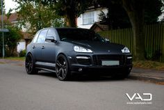Not a huge Porsche fan. But if looked like this, I'd take it. Matte Black Porsche Cayenne