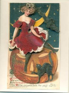 3D Card Halloween Lady Red Dress