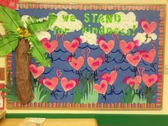 Valentine'S day preschool bulletin board with flamingos. sweet and bright! Diy Classroom Decorations, Classroom Themes, Classroom Design, Valentines Day Bulletin Board, Valentine Theme, School Themes, School Fun, Preschool Bulletin Boards, Shabby
