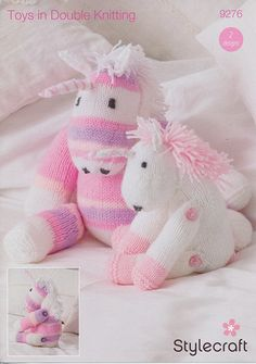 """Two fabulous mythical unicorns knitted in Wondersoft DK and the self-striping Wondersoft MerryGoRound but also suitable for other DK yarns from Stylecraft. Both unicorns are knitted in stocking stitch with simple shaping, the limbs are jointed using buttons, and the mane is created using loop stitch. When sitting, the small unicorn measures approximately 7½"""" and the large unicorn 11"""". To complete your unicorn(s) you will also need stuffing, a sewing needle, 4 buttons for each unicor..."""