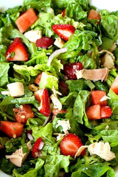 ThisStrawberry Watermelon Chicken Salad is a fresh salad served with a basil dressing, delicious for any brunch, lunch, or dinner party!