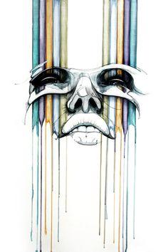Artwork by Hans Walor - Walør Art And Illustration, Graphic Design Illustration, Bubble Art, Found Art, Face Art, New Art, Watercolor Art, Cool Art, Art Drawings