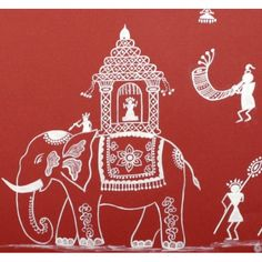 Warli men and women dancing to the 'tarpa' and other tribal instruments, in the witness of a royal procession. Rendered on a traditional red background, this is a beautiful work of art. Madhubani Art, Madhubani Painting, Worli Painting, Fabric Painting, Traditional Paintings, Traditional Art, Indian Folk Art, Indian Art Paintings, Elephant Art