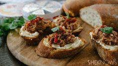 Chipotle pulled pork bruschetta with creamy cheese