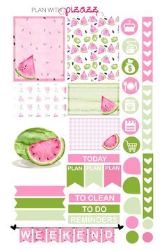 You will receive one sheet of matte finish die cut stickers. The sheet includes super cute WATERCOLOR WATERMELONS Theme stickers including several