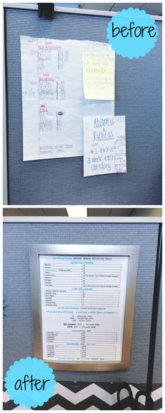 Frame your work notes for a cubicle desk makeover! I know you have at least 5 post-its cluttered in your work space with information you refer to every day. Via thebeetique.blogspot.com