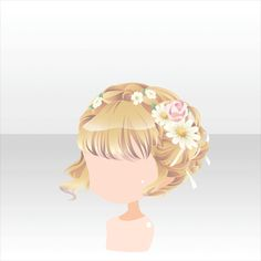 Anime hair blonde with flowers
